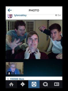 Gotta love it! Connor Franta, Kian Lawley,and Ricky Dillon skyping Tyler Oakley! XD