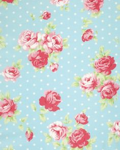 New Tanya Whelan Collection! Pre-Sale Lulu Roses PWTW093.SKYXX, Shabby Chic Floral Fabric, Roses on Dots Fabric, Free Spirit