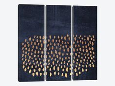 Pattern Play (Gold & Navy) by Elisabeth Fredriksson 3-piece Canvas Wall Art