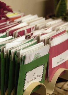 Montessori materials - card storage idea