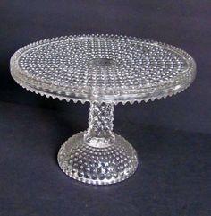 Rare Antique EAPG Hobnail Glass Pedestal Cake Plate Stand Columbia Glass Company