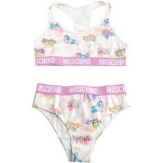 Moschino My Little Pony Cotton-Jersey Triangle-Bra and Briefs ($144) ❤ liked on Polyvore featuring intimates, bras, multicolor, racerback bra, racer back bra, colorful bras, pull on bras and cotton jersey
