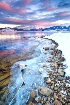 Ushuaia, Argentina I like how the snow and ice is divided by the rocks. I also like how the colors of the sky are reflected on the ice. Places Around The World, Oh The Places You'll Go, Places To Travel, Places To Visit, Around The Worlds, Ushuaia, Foto Nature, All Nature, Beautiful World