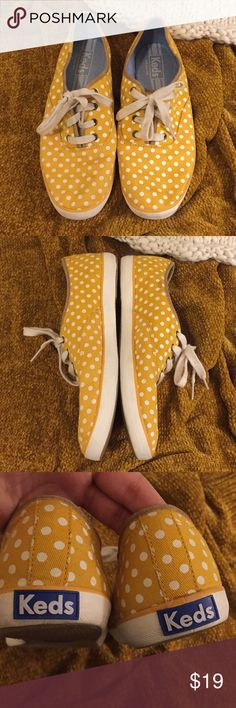 Polka dot Keds Yellow polka dot Keds. In great condition. Slight mark on side shown in last photo. Could easily be cleaned. Size 7.5. Keds Shoes