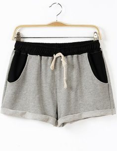 Grey Drawstring Waist Pockets Shorts - Fashion Clothing, Latest Street Fashion At Abaday.com
