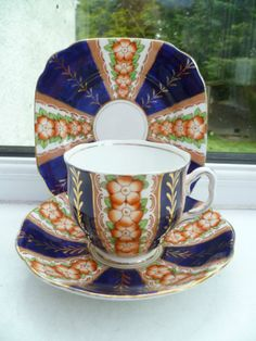 Vintage Royal Albert Crown China Trio Tea Cup Saucer Plate Cobalt Gilded | eBay