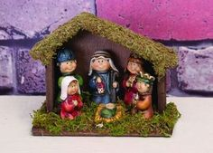 "Nativity Set with Creche, measures 2-1/2"" x 5"" x 4'"