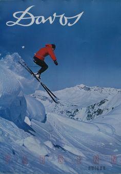 Davos Ski Switzerland, 1960s - original vintage poster by L. Gensetter listed on AntikBar.co.uk