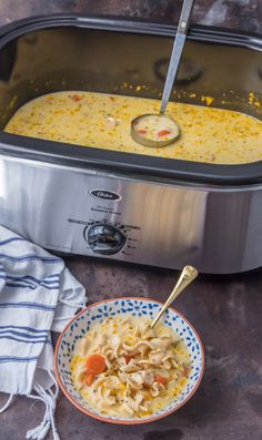 Creamy Turkey Noodle Soup is easy to make with my new Oster® Roaster [ad] Slow Cooker Recipes, Crockpot Recipes, Soup Recipes, Great Recipes, Cooking Recipes, Favorite Recipes, Recipies, I Love Food, Good Food