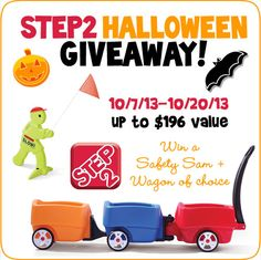 Step2 Wagon + Safety Sam #giveaway! Perfect to get around on Halloween! hosted by @Sara {Mom Endeavors}  ENDS 10/20 48 contiguous US states Rafflecopter Entry