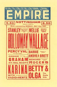 Vintage Theatre Poster - Empire - Nottingham - England - 31 May 1937