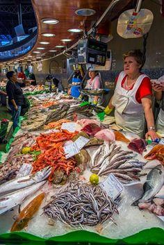 Fish stall in La Boqueria food market, Barcelona, Catalonia.