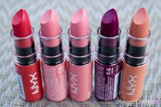 NYX Butter Lipsticks - Swatches: Fizzies, Cotton Candy, Hubba Bubba, Hunk and Bit of Honey - Honeygirl's World