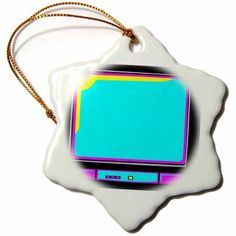 3dRose Cmyk Retro Television Tv Set Vector Cartoon, Snowflake Ornament, Porcelain, 3-inch