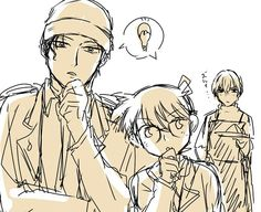 Akai, Conan, and rei in the background.