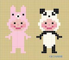 「きぐるみぃず ~その8~」記事の画像 Pixel Crochet, Crochet Chart, Knit Crochet, Stitch Character, Cross Stitch Designs, Cross Stitch Patterns, Brick Stitch, Bead Crafts, Perler Beads