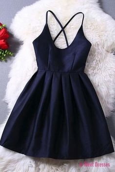 Cute Navy Blue Pleats Short Dress Fashion New Vestido Prom Dress Juniors Party Gowns