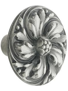 "Drawer Pulls and Knobs. Chrysanthemum Cabinet Knob - 1 3/8"" Diameter in Antique Pewter"