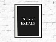 Inhale Exhale Yoga Print Relaxation Quote Breathe Poster Meditation