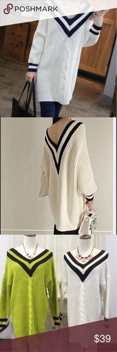 "Oversized slouchy Vneck sweater Oversized slouchy sweaterBoutique Material: acrylic. Color: ivory white. Size: one size. Measurement: length-28-29"", bust: 37-39"", sleeve length: 16-17"". NWOT Sweaters"