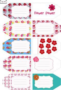 Etiquetas primaverales imprimibles chillonas Flowers Printable tags