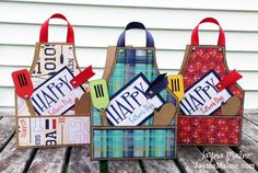 Fathers Day BBQ Apron Guides/Templates Available - Playing with Paper Apron Tutorial, Bbq Apron, Shaped Cards, Masculine Cards, Card Kit, Scrapbook Cards, Scrapbook Layouts, Diy Cards, Homemade Cards