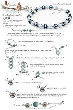 Gratis patronen | Elfenatelier Beading Patterns Free, Beaded Jewelry Patterns, Bracelet Patterns, Free Pattern, Beaded Earrings, Beaded Bracelets, Beaded Bead, Swarovski Bracelet, Necklaces