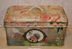Medium Shabby Chic Vintage Style Storage Metal Tin in a Chintz Pattern with Flower and Bird Detail Lift off Lid: Amazon.co.uk: Kitchen & Home