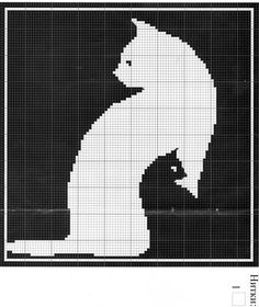 Kitty Silhouette idea for applique or quilting Cat Cross Stitches, Cross Stitch Needles, Cross Stitch Charts, Cross Stitching, Cross Stitch Embroidery, Cross Stitch Patterns, Filet Crochet Charts, Crochet Diagram, Knitting Charts
