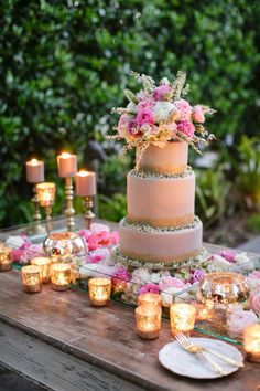 Peach & pink.. {love the flowers below the cake..} Photography: Greer G Photography - greergphotography.com Read More: http://www.stylemepretty.com/2014/10/24/romantic-watercolor-wedding-inspiration-shoot/
