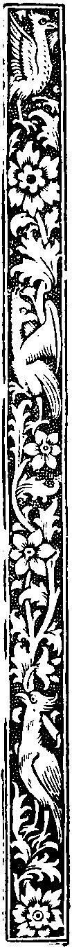 Medieval Woodcuts Clipart Collection.  Vertical border of birds and flowers; detail of a page from Horae, Paris, 1506.