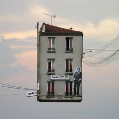 """Inspired by the forgotten homes of the Belleville and Menilmontant neighborhoods in Paris, France, Laurent Chehere's photo-series named """" Flying Houses Les Deux Sevres, Architecture Design, Old Paris, Montage Photo, Floating House, French Photographers, Photo Series, Tour Eiffel, French Artists"""