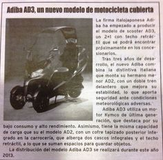 ADIVA AD3 Nota publicada en La Vanguardia. https://www.facebook.com/pages/ADIVA-SCOOTER-CONCEPT/230109820372245?fref=ts