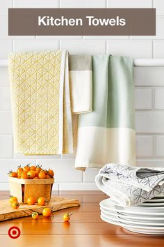 Keep kitchen towels handy to clean up spills off the counter. Collect a variety to match any decor, from modern to farmhouse & boho.