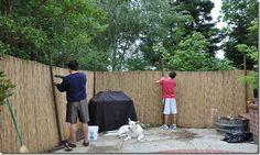Reed fencing to hide ugly back fence. Small Outdoor Patios, Small Pergola, Pergola With Roof, Pergola Plans, Diy Pergola, Pergola Kits, Outdoor Rooms, Outdoor Furniture Sets, Pergola Ideas