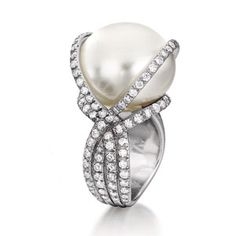 South Sea Diamond Wrapped Pearl Ring...vendura  <3<3