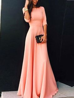 Elbow Sleeve Maxi Pink Dress Mobile Site
