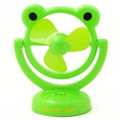 Mini USB & Battery Cartoon Green Frog Fan