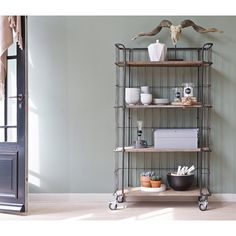 Pin from www. Laundry Shelves, Industrial Interiors, Ladder Bookcase, Kitchen Cart, Open Shelving, Sweet Home, House Design, Living Room, Storage