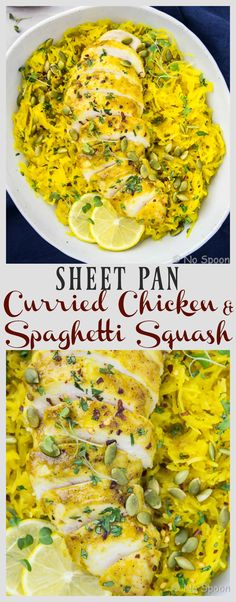 Baked Curried Chicken & Spaghetti Squash - Sheet Pan Meal
