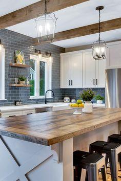 Modern Farmhouse Kitchens, Farmhouse Kitchen Decor, Kitchen Redo, New Kitchen, Home Kitchens, Blue Kitchen Ideas, Farmhouse Kitchen Inspiration, Blue Kitchen Designs, Farmhouse Sinks