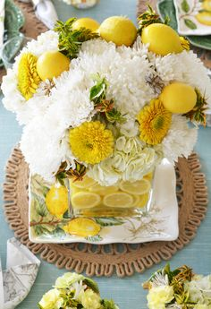 Lemons and Bees Tablescape and Flower Arrangement | ©homeiswheretheboatis.net #lemons #bees #tablescape #flowerarrangement #DIY Vase Arrangements, Flower Arrangement, Lemon Vase, Lemon Seeds, Bee On Flower, Hydrangea Not Blooming, Floral Foam, Amazing Flowers, Flower Vases