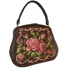 Pink and brown roses needlepoint 1950s handbag