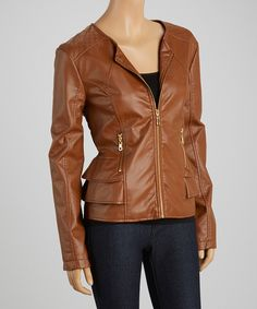 Love this Dollhouse Toffee Tiered Scoop Neck Faux Leather Jacket