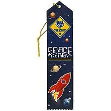 An exciting new way to recognize participation in a Space Derby® event!   Award ribbon is sublimation printed with the Cub Scout™ logo and 'SPACE DERBY' lettering on a blue star and galaxy background. Each piece is pointed,