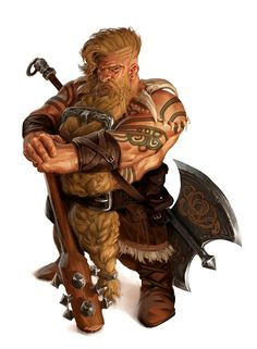 Male Dwarf Bare Chest Tattooed Barbarian - Pathfinder PFRPG DND D&D d20 fantasy