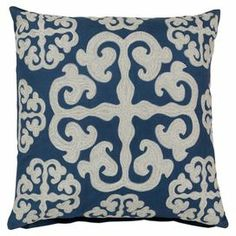 """Cotton pillow with embroidered wool medallion detailing.   Product: PillowConstruction Material: Cotton and wool coverColor: Mediterranean blue and papyrusFeatures:  Insert includedEmbroidered design    Dimensions: 18"""" x 18"""""""