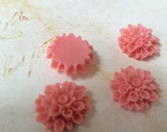 2 PC Cabochons Ceramic Rose Flower Ivory by StoneLedgeVintage