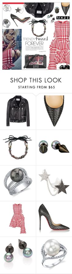 """Trendy Tweed"" by maris-go-round ❤ liked on Polyvore featuring Diane Von Furstenberg, Acne Studios, Chanel, Christian Louboutin, Majorica, Nikos Koulis, Simone Rocha, Valentino, women's clothing and women"