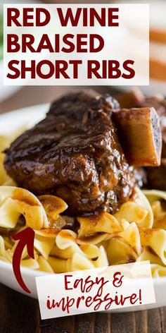 These Easy Beef Short Ribs are fall-off-the-bone tender, decadently rich, and such a show stopper. Recipes Using Pork, Beef Steak Recipes, Beef Recipes For Dinner, Rib Recipes, Delicious Dinner Recipes, Yummy Snacks, Seafood Recipes, Cooking Recipes, Yummy Food